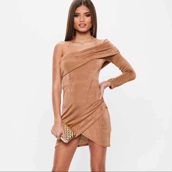 e2c43fb5a58f Missguided Dresses | Bn New Nude Tan Slinky Off Shoulder Dress Club ...